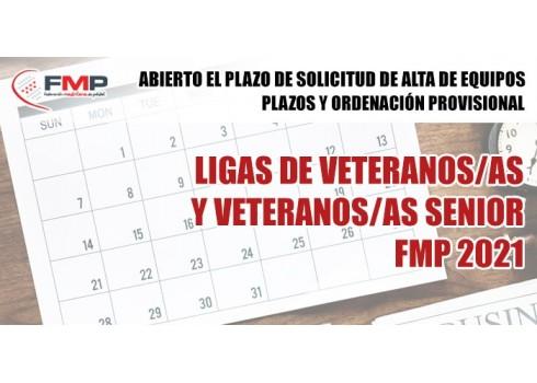 Ligas de veteranos, veteranas de mediodía, veteranas nocturna y veteranos/as senior fmp 2021